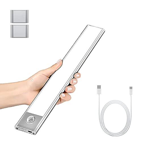 Luz Armario con Sensor de Movimiento, 37 LED Luz Recargable USB Para Armario, Luces Nocturnas Ultrafinas Desmontables con Batería Para Mostrador, Armario, Cocina, Pasillo, Escaleras, Pared (23.5cm)