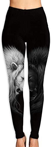 Leggings con Estampado 3D de corazón de león Blanco y Negro para Mujer, Mallas elásticas de Motociclista para Entrenamiento de Yoga Suaves, Mallas con Estampado Suave-L