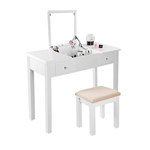 AODAILIHB Vanity Table with Flip Top Mirror Makeup Dressing Table Writing Desk with Cushioning Makeup Stool Set, 2 Drawers 3 Removable Organizers Easy Assembly (White)