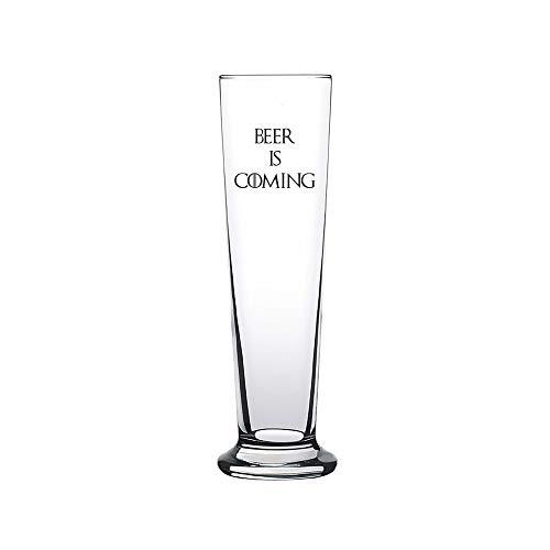 42thinx Bierglas mit Spruch 300 ml I Fanartikel GoT Bierglas Pilsglas mit umweltfreundlichen Druck als Geschenk für Biertrinker GoT Fan I Bierglas mit Spruch GoT Glas - Beer is Coming