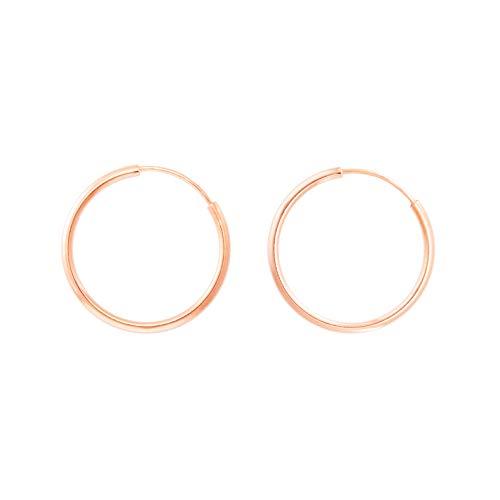 Pendientes de aro redondos lisos flexibles, oro rosa (375/1000) 16 mm