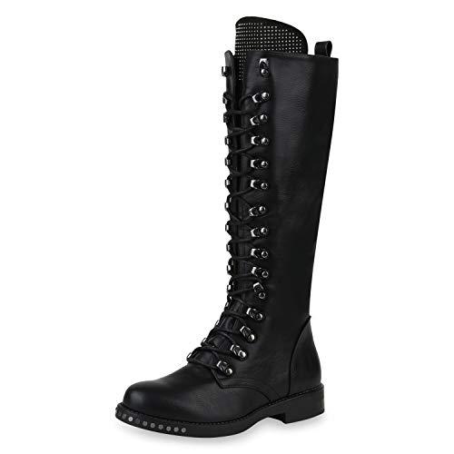 SCARPE VITA Damen Schnürstiefel Gefütterte Stiefel Combat Boots Strass Nieten Leder-Optik Schuhe Schnürboots 169916 Schwarz 36