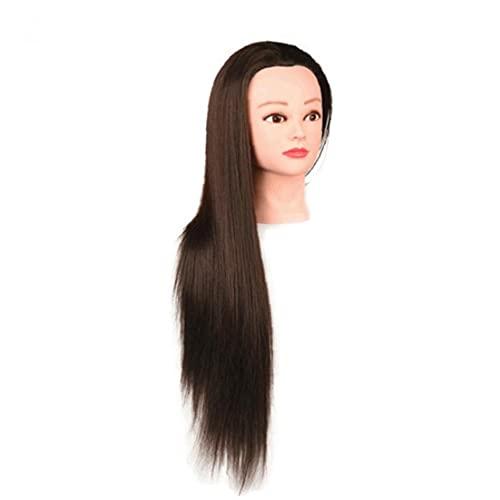 Tête de modèle Tête Formation Synthétique Fibre Coiffure Entraînement Cosmétologie Poupée Pour pratiquer le coiffeur de coiffure avec pince brun pulvérisateur de déclenchement durable brun