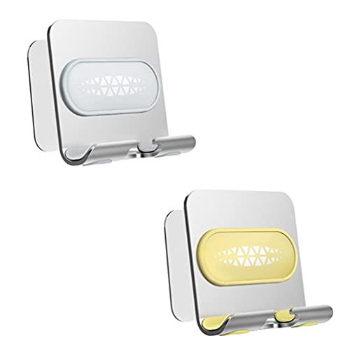 Abaodam Soporte de Teléfono de Ducha Soporte de Pared de Aluminio Adhesivo Y Puerto de Carga para Baño Cocina 2 Piezas