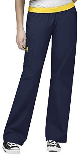 WonderWink Women's Scrubs Quebec Full Elastic Cargo Pant, Navy, 2X/Petite