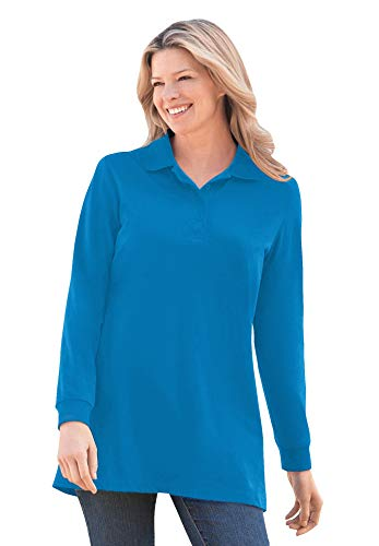 Woman Within Women's Plus Size Long-Sleeve Polo Shirt - 4X, Vibrant Blue