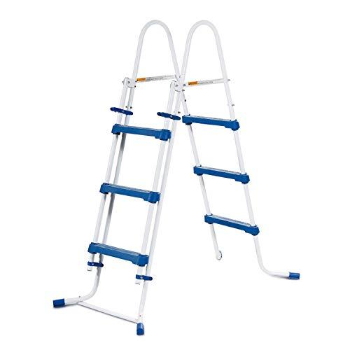 Summer Waves Poolleiter Sicherheitsleiter Einstiegsleiter Schwimmbad Leiter, Größe:107cm - 3 Stufen