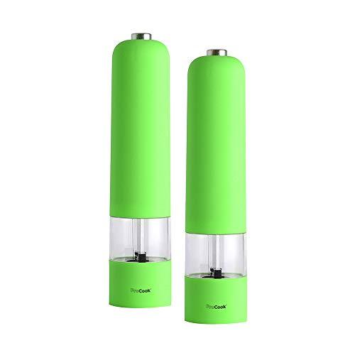 ProCook Soft Touch elektrische Salz- und Pfeffermühle Set, grün
