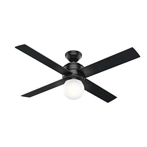 "Hunter Hepburn Indoor Ceiling Fan with LED Light and Wall Control, 52"", Matte Black"