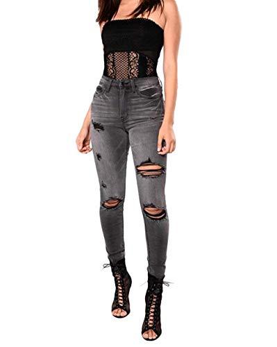 Lannister Fashion Damen Loch Hose Zerrissen Jeans Risse Am Knie Bekleidung High Waist Jeanshose Skinny Hochbund Mit Taschen Bleistifthose (Color : Schwarz, Size : 2XL)