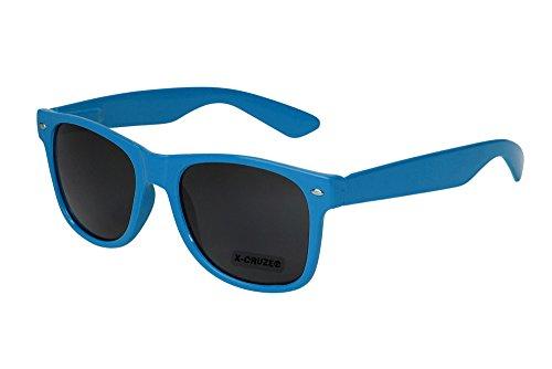 X-CRUZE 8-007 - Gafas de sol nerd retro vintage unisex hombre mujer gafas nerd - azul