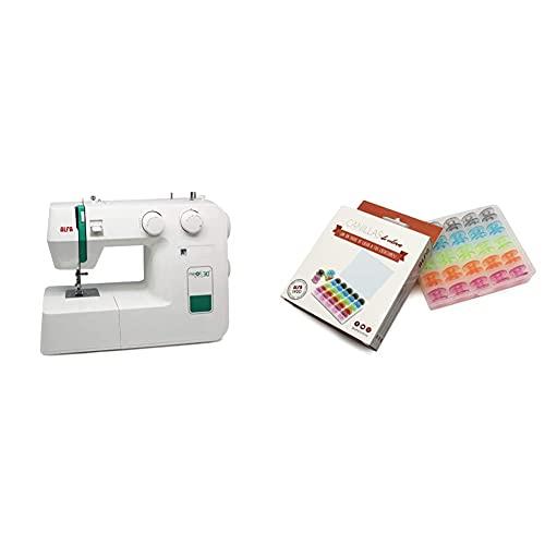 Alfa Maquina De Coser Next, Verde, 30 X 19 X 37 Cm + 6050-Caja 25 Canillas Colores, Multicolor, 0