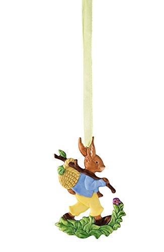 Hutschenreuther Osteranhänger Hase mit Korb / 6 x 8,5 cm Porzellan-Anhänger, bunt, 8.5 x 6 cm