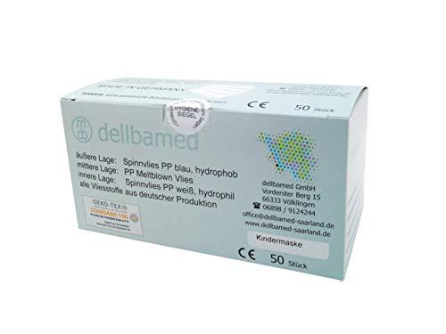 dellbamed - medizinische Atemschutz-Masken für KINDER (50 Stück); CE zertifiziert gemäß DIN EN 14683 TYP II ; > 98{8181816551c331f6c7c9ea836b6475d49c40bebbff0957a851f4c037390d501b} bakt. Filterleistung bei optimierten Atemwiderstand; Made in Germany; ÖKO TEX