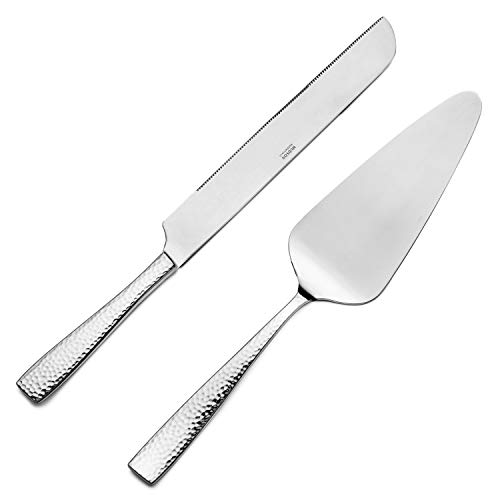 Hudson Essentials Hammered 18/10 Stainless Steel Cake Knife & Cake Server Set