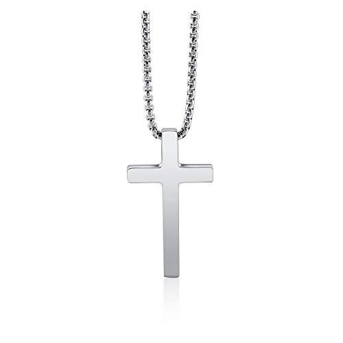 PiercingJak Edelstahl Kreuz Kette Herren Damen Halskette Religiöse Gebet Kreuz Anhänger mit 24