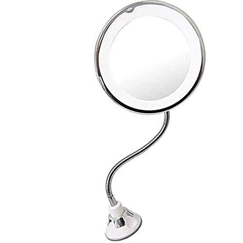 Miroir de maquillage col de cygne,miroir de maquillage avec lumières et grossissement fixé au mur, éclairage LED loupe 10x avec ventouse à verrouillage électrique,avec rotation pivotante à 360 degrés