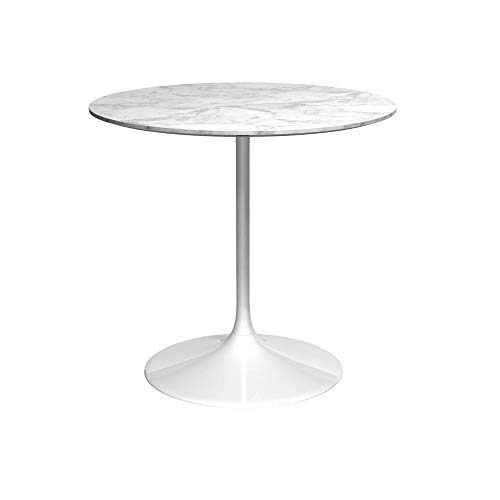 Gillmore Space Socle Moyen Table Dinante Blanc Brillant Et Blanc