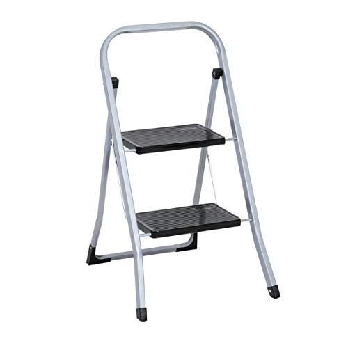 Trittleiter 2 Stufen Leiter Klapptritt Klappleiter Klapptreppe Tritt Haushaltstritt Stehleiter Sprossenleiter klappbar faltbar bis 150 kg (2 Stufen, silber)