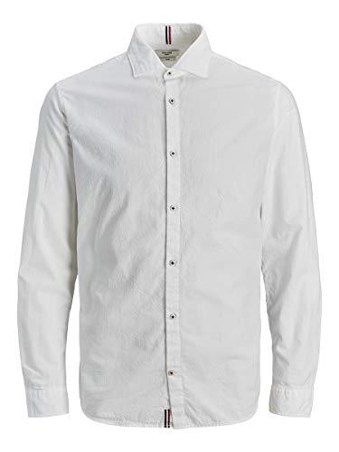 JACK & JONES Herren JPRBLATORINO Seersucker Shirt L/S Hemd, White, XL