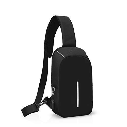 FANDARE Moda Zaino Monospalla Borsa a Tracolla Uomo con USB Borsa Sportiva Sling Bag, per Trekking/Ciclismo/Libri/Viaggio/Sports/Alpinismo Nero