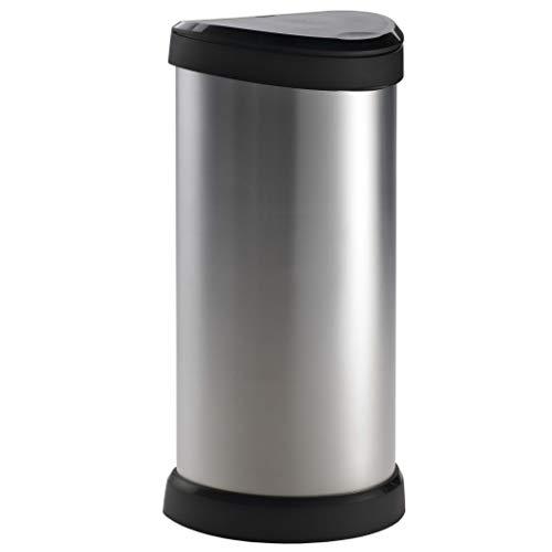 CURVER Poubelle à pédale Deco Bin Touch - 40 Litres - Poubelle Haute Aspect Argent - Poubelle en métal et Plastique pour Cuisine, Bureau, Salle de Bai