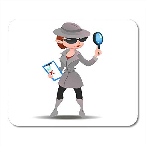 Muiskussentjes Zwart Mystery Shopper Vrouw in Spy Boots Zonnebril en Hoed met Vergrootglas en Checklist Volledige lengte muismat