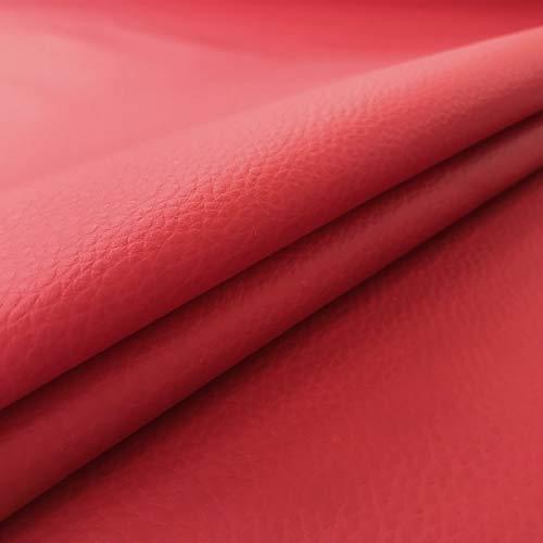 Panini Tessuti Tessuto Ecopelle Morbida Finta Pelle a METRAGGIO a Partire da 50 CM (Lunghezza) x 140 CM (Larghezza Fissa); 1 qtà=50cm; 2qtà=100cm - per arredo DIVANI, SEDIE (1/2 Metro, Rosso Scuro)