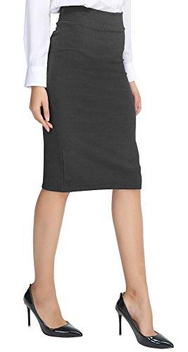 Urban CoCo Women's Elastic Waist Stretch Bodycon Midi Pencil Skirt (M, Heather Grey)