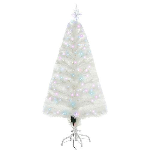 HOMCOM Weihnachtsbaum 1,2 m Christbaum Kunsttanne 130 Zweige mit RGB Led-Leuchten Metallfuß PVC Weiß Ø45 x 120H cm