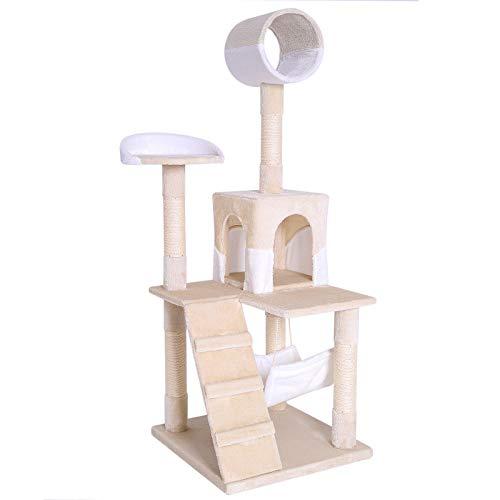 Rascador para gatos Árbol escalador arañar Juguete para Mascotas (beige / blanco)
