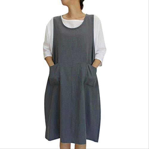 mhde Schürzen Baumwoll-Tunika-Kleid Lässige, Ärmellose, Knielange Schürzen Kleid Mit Taschen Schürze Im Japanischen StilDg