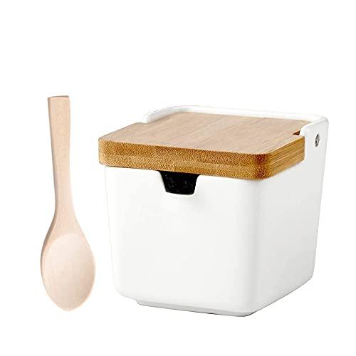 Ceramic Sugar Bowl with lid and Spoon,White Sugar jar Seasoning Box for...