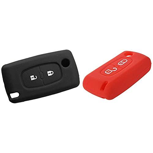 HYCy 2X 2 Botones Funda Protectora para Llave remota Funda Protectora para 206207307308 Silicona Negro y Rojo