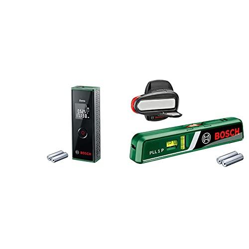 Bosch Laser-Entfernungsmesser Zamo (3. Generation, Messbereich: 0,15 – 20,00 m, Karton) & Laser-Wasserwaage PLL 1 P (Arbeitsbereich Linienlaser 5 m, Arbeitsbereich Punktlaser 20 m, im Karton)