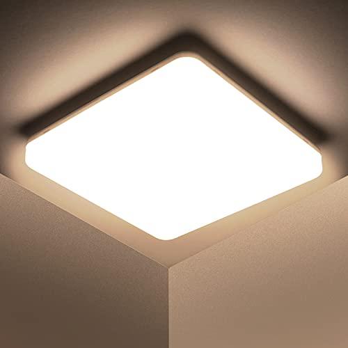 Kambo LED Lámpara de Techo Moderna 48W Cuadrada Blanca, Plafon Techo Led Moderno Impermeable IP44 Blanco Neutro 4500K 30CM Para Baño Cocina Sala de Estar Dormitorio Pasillo Habitacion Comedor Balcón