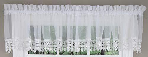 "LORRAINE HOME FASHIONS Elizabeth, 54"" W X 12"" L Tailored Lace Valance Color: White"