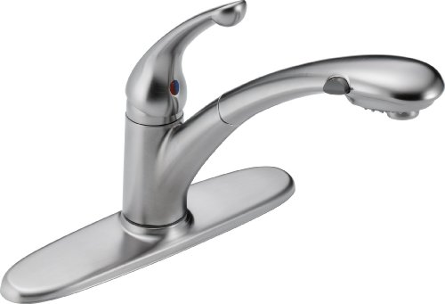 Delta Faucet Signature Single-Handle Kitchen Sink Faucet with Pull Out Sprayer, Arctic Stainless 470-AR-DST