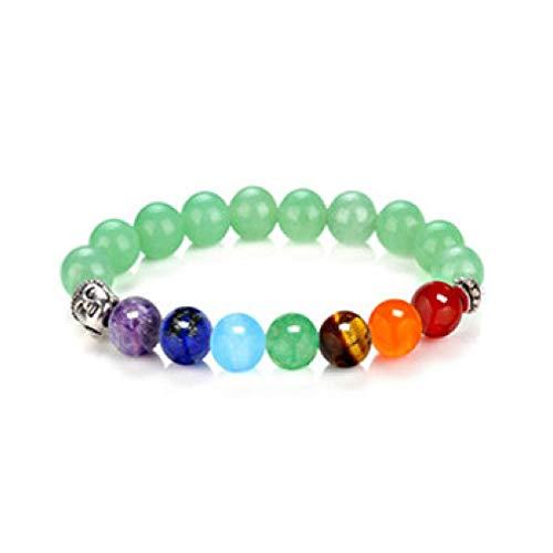 YAZILIND 7 Chakra Hematite Pulsera sanación Cristales Terapia magnética con Cabeza de Buda Yoga Meditiation #4