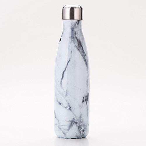 KAV Stainless Steel Vacuum Insulated Water Bottle Leak Proof Double Walled Keeps Drinks Cold for 24 Hours Hot for 12 Hours Vacuum Bottle Flask 500ml18 oz Marble White