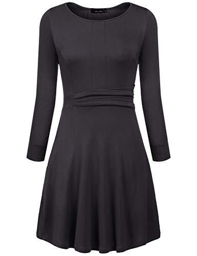 Meaneor Damen Kleid Basic Langarm mit Kariertes Patchwork Knielang Elegant O Ausschnitt A-Linie...