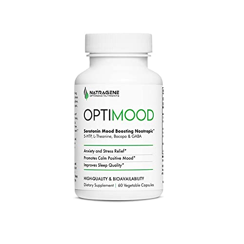 OPTIMOOD - Serotonin Mood Boost, Natural Antidepressant, Anxiety Relief, Mood Enhancer with Nootropic 5HTP, Ashwagandha, L-Theanine, Saffron & Tumeric.