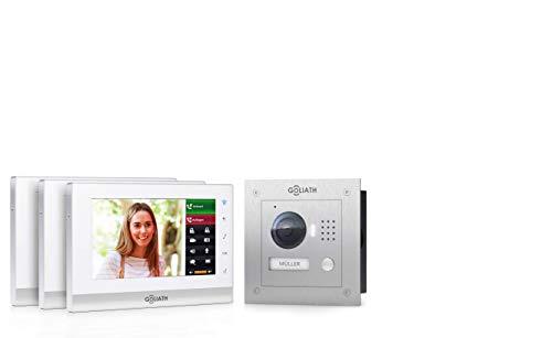 Goliath IP 2-draads video-intercomsysteem, 1,3 megapixel camera, 3 x 7 binnenstation, smartphone mobiele telefoon, intercominstallatie, video-intercominstallatie, inbouw buitenstation, eengezinswoning set