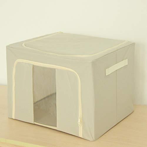 XJZKA Caja de Almacenamiento de Tela Oxford, Marco de Acero Plegable, Caja de Almacenamiento de Ropa, Caja de Almacenamiento para el hogar, 40 * 50 * 35 cm, Color Caqui