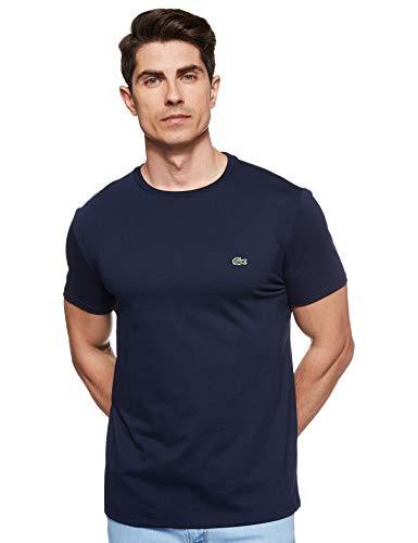 Lacoste Men's Short Sleeve Crew Neck Pima Cotton Jersey T-shirt, Navy Blue, L