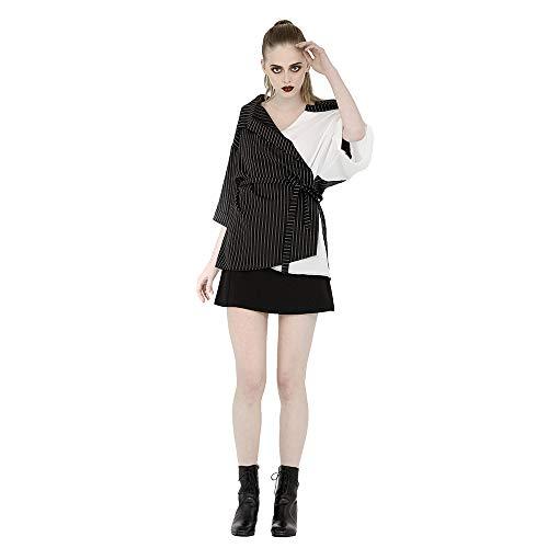 Punk Chic Zwart en Wit Borduurblouse Vrouwen, Mode Sexy Lange Mouw Strapless Shirt, Losse Shirt Stijl Tuniek Vrouwen, Wrap Over Tops, Een Maat