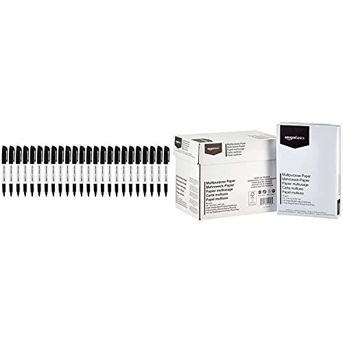 Amazon Basics - Permanent Marker, Schwarz, 24er-Packung & Druckerpapier, DIN A4, 80 g/m², 5x500 Blatt, Weiß