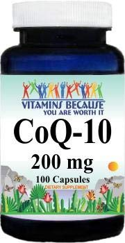 CoQ-10 Coenzyme 200mg 200 Capsules by Vitamins Because (2 Servings of 200mg = 400mg)