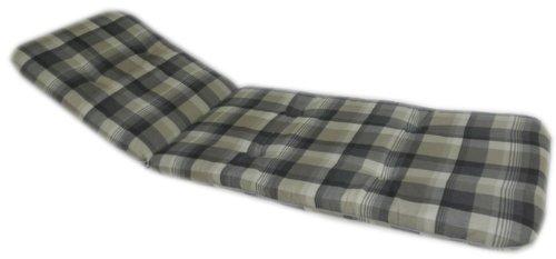 Beo Gartenstuhlauflage Sitzkissen Polster für Gartenliegen Rollliegen mit braun grau kariert