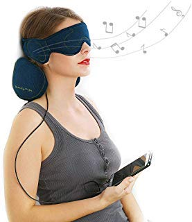 ACOTOP Premium Set 2-Piece Memory Foam Travel Neck Pillow and Sleep Headphones Eye Mask with Built-in HD Audio Speaker (Navy Blue)